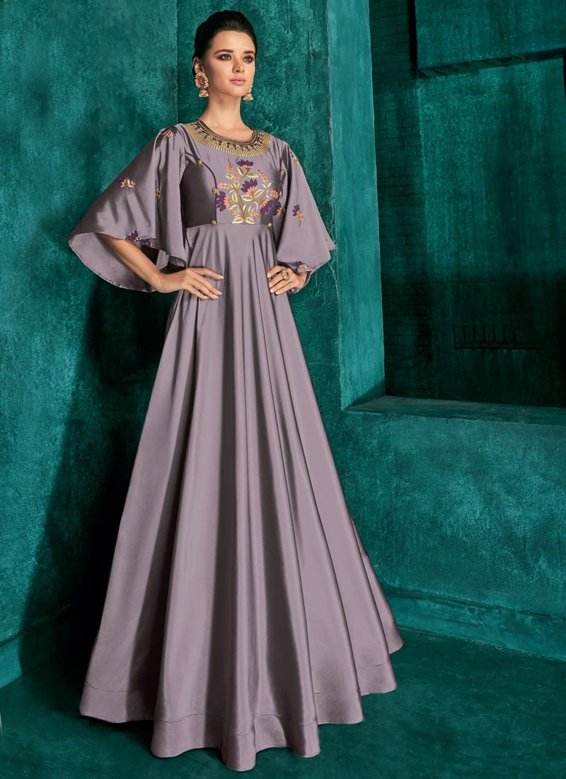 Tafeta Silk Embroidered Work Readymade Trendy Gown