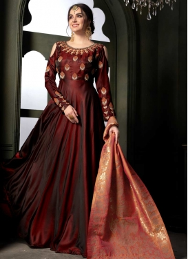 Tafeta Silk Floor Length Trendy Salwar Suit