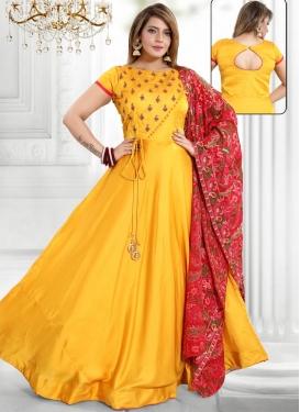 Tafeta Silk Gold Zardosi Work Readymade Long Length Gown