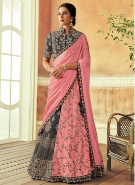 Tafeta Silk Grey and Salmon Designer Lehenga Choli