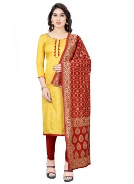 Tafeta Silk Lace Work Churidar Salwar Kameez