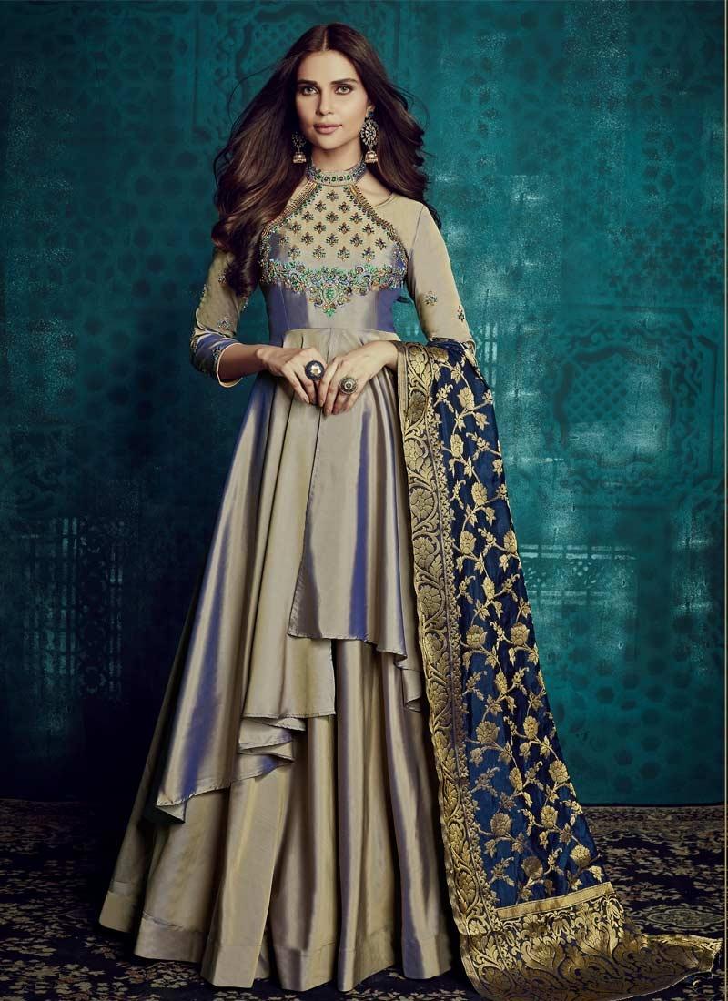 Tafeta Silk Layered Designer Gown For Festival