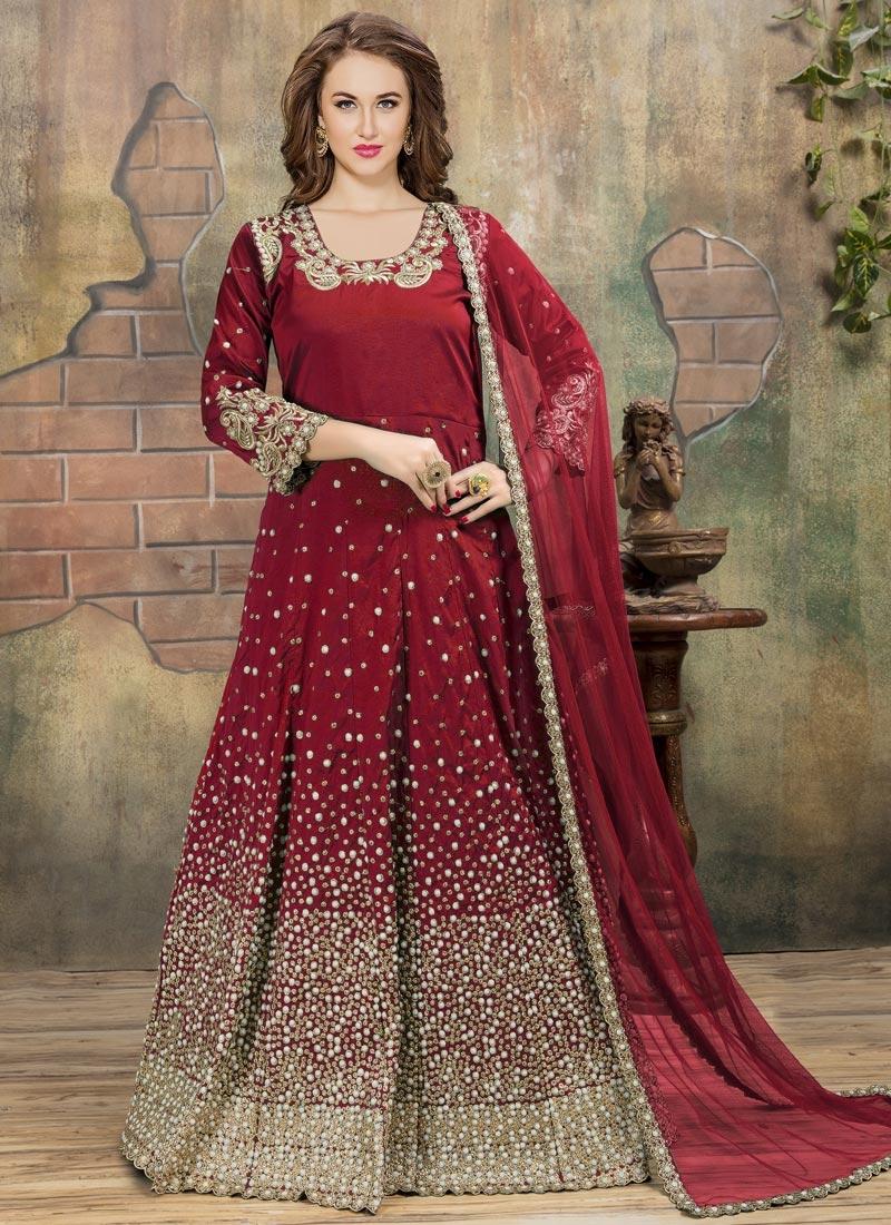 Tafeta Silk Long Length Designer Anarkali Suit For Ceremonial