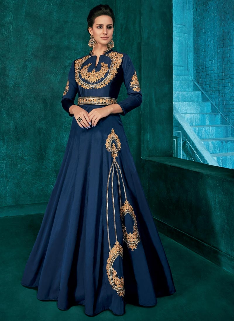 Tafeta Silk Readymade Designer Gown For Festival