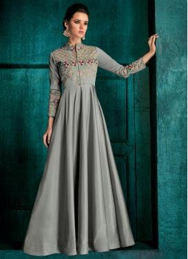 Tafeta Silk Readymade Floor Length Gown