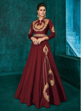 Tafeta Silk Readymade Floor Length Gown