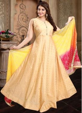 Tafeta Silk Readymade Floor Length Gown For Ceremonial