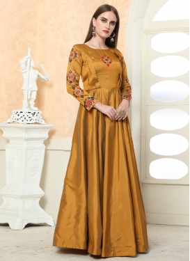 Tafeta Silk Readymade Floor Length Gown For Festival
