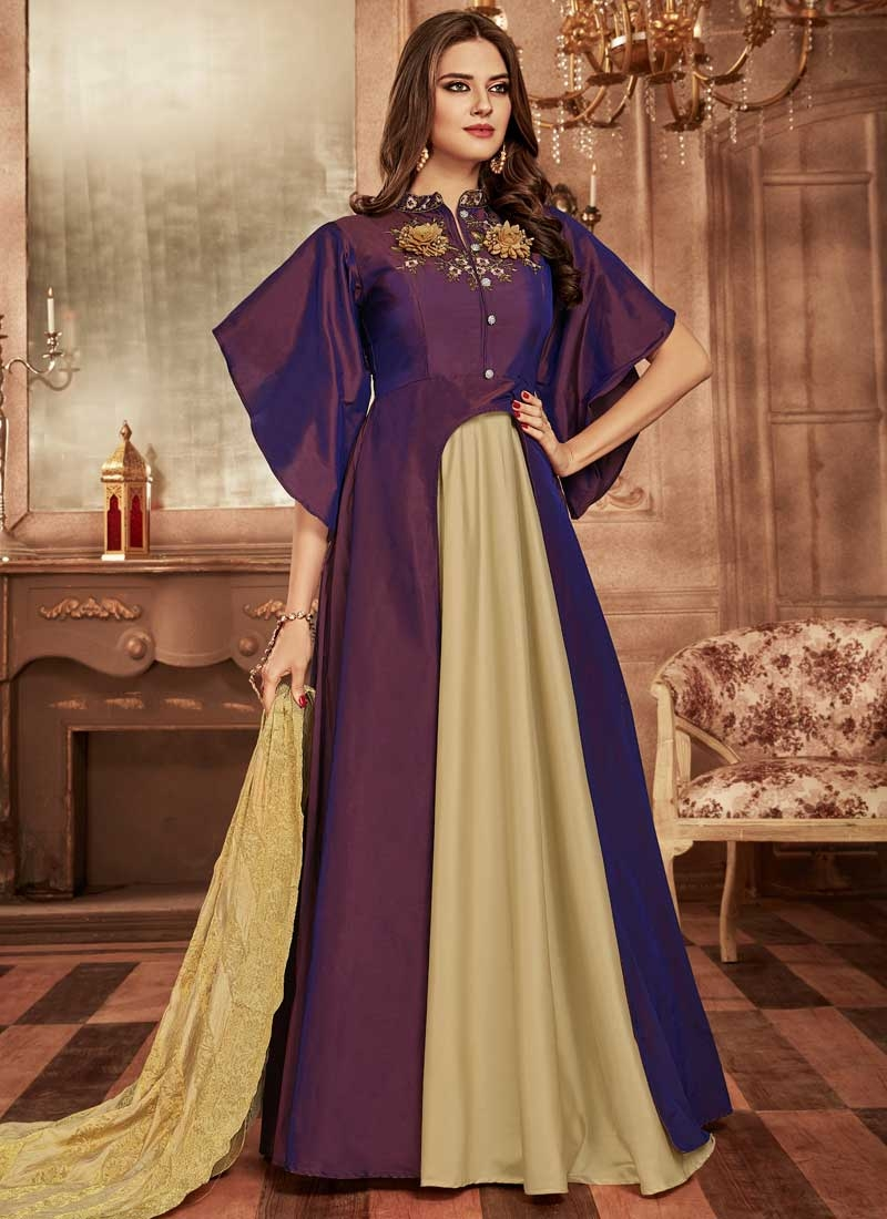 Tafeta Silk Readymade Layered Gown