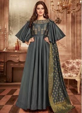 Tafeta Silk Readymade Long Length Gown