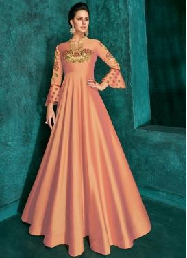 Tafeta Silk Readymade Long Length Gown For Ceremonial