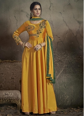 Tafeta Silk Readymade Long Length Gown For Ceremonial