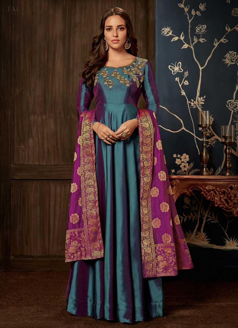 Tafeta Silk Readymade Trendy Gown For Festival