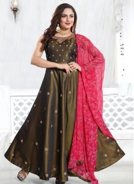 Tafeta Silk Resham Work Readymade Classic Gown