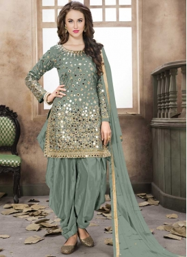 Tafeta Silk Trendy Patiala Salwar Kameez