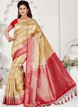Tantalizing Art Silk Beige Weaving Traditional Saree