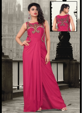 Tantalizing Fuchsia Color Party Wear Readymade Gown