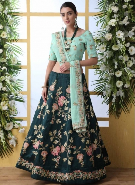 Teal and Turquoise A Line Lehenga Choli