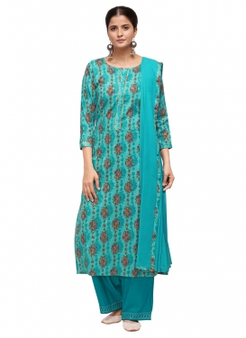 Teal and Turquoise Cotton Palazzo Style Pakistani Salwar Suit