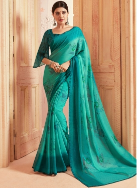 Teal and Turquoise Printed Saree