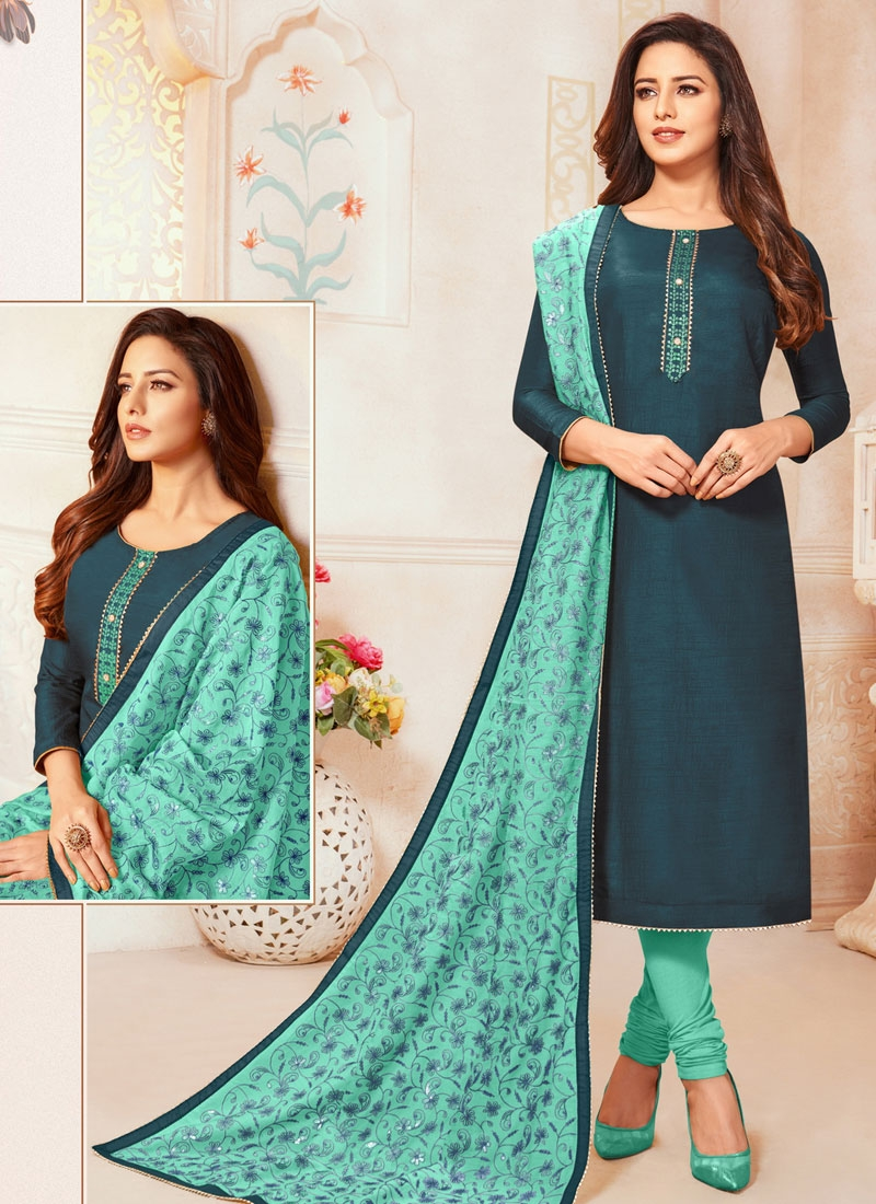 Teal and Turquoise Thread Work Trendy Churidar Salwar Suit