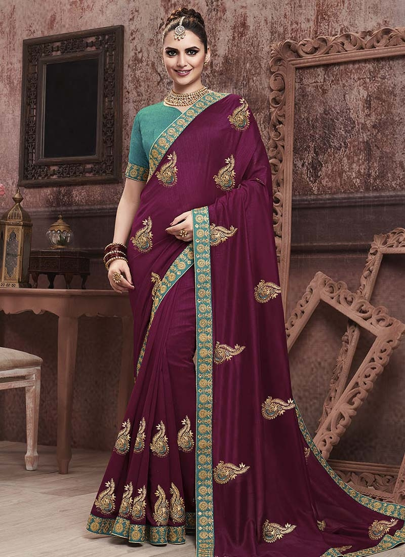 Teal and Wine Embroidered Work Designer Contemporary Style Saree