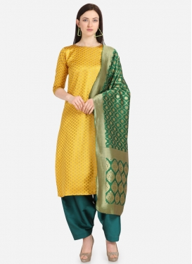 Teal and Yellow Jacquard Pakistani Salwar Kameez