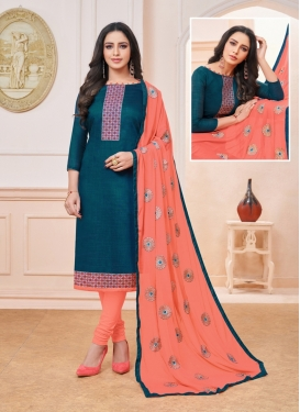 Teal Art Silk Embroidered Churidar Suit