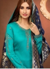 Light Blue Embroidered Churidar Suit - 1