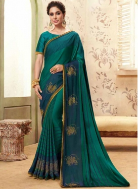 Teal Fancy Fabric Patch Border Classic Designer Saree
