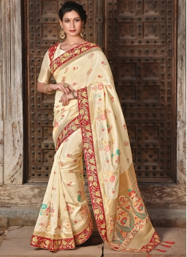 Tempting Art Silk Cream Weaving Designer Traditional Saree