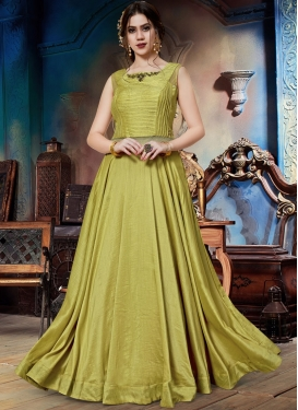 Tempting Embroidered Olive Designer Gown