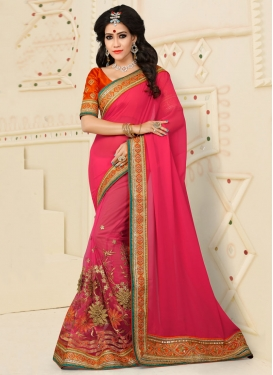 Tempting Embroidered Work Net Rose Pink Contemporary Style Saree For Ceremonial