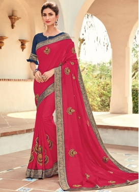 Tempting Rose Pink Embroidered Traditional Saree