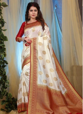 Thread Work Art Silk Classic Saree For Ceremonial