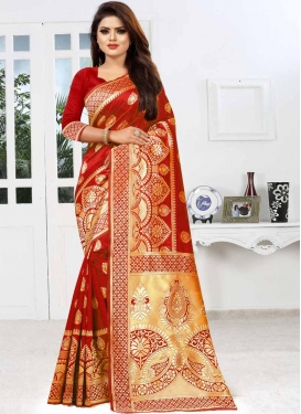 Thread Work Art Silk Designer Traditional Saree