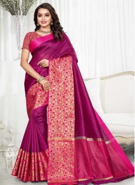 Thread Work Art Silk Fuchsia and Purple Trendy Classic Saree