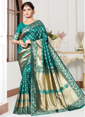 Thread Work Art Silk Traditional Designer Saree