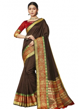 Thread Work Art Silk Traditional Designer Saree For Casual