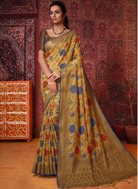 Thread Work Art Silk Traditional Saree