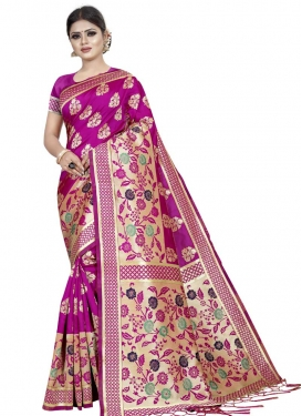 Thread Work Art Silk Trendy Classic Saree For Ceremonial