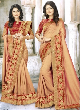 Thread Work Art Silk Trendy Saree