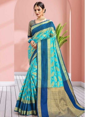 Thread Work Banarasi Silk Blue and Light Blue Designer Contemporary Saree