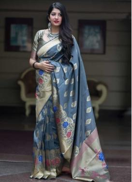 Thread Work Banarasi Silk Designer Contemporary Saree