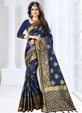 Thread Work Banarasi Silk Designer Contemporary Style Saree For Ceremonial