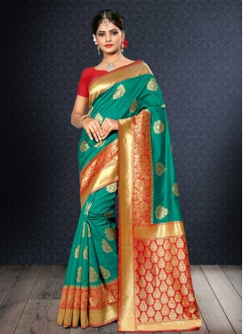 Thread Work Banarasi Silk Red and Sea Green Contemporary Saree