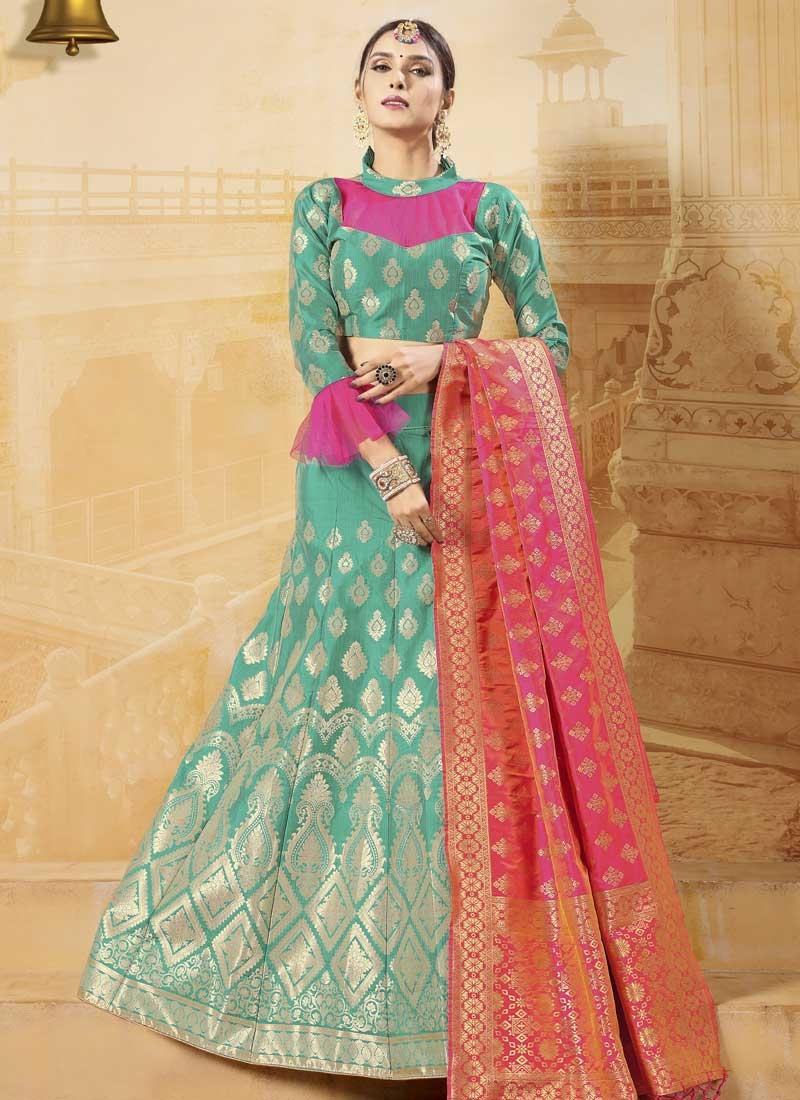 Thread Work Banarasi Silk Trendy A Line Lehenga Choli