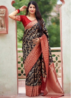 Thread Work Black and Red Traditional Designer Saree