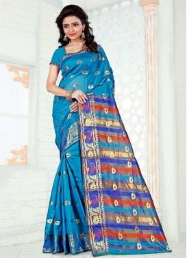 Thread Work Blue and Light Blue Designer Contemporary Saree