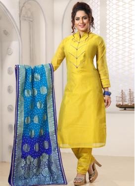 Thread Work Chanderi Silk Readymade Churidar Salwar Kameez